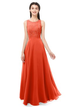 ColsBM Indigo Persimmon Bridesmaid Dresses Sleeveless Bateau Lace Simple Floor Length Half Backless