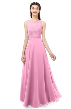 ColsBM Indigo Pink Bridesmaid Dresses Sleeveless Bateau Lace Simple Floor Length Half Backless