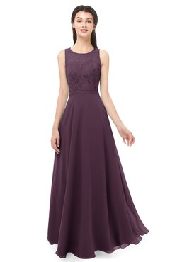 ColsBM Indigo Plum Bridesmaid Dresses Sleeveless Bateau Lace Simple Floor Length Half Backless