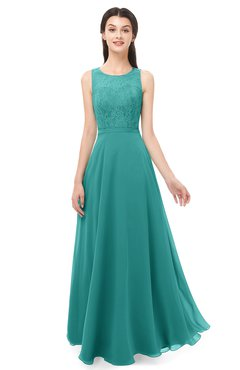ColsBM Indigo Porcelain Bridesmaid Dresses Sleeveless Bateau Lace Simple Floor Length Half Backless