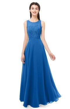ColsBM Indigo Royal Blue Bridesmaid Dresses Sleeveless Bateau Lace Simple Floor Length Half Backless