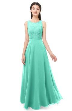 92770550248 ColsBM Indigo Seafoam Green Bridesmaid Dresses Sleeveless Bateau Lace  Simple Floor Length Half Backless
