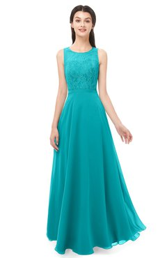 ColsBM Indigo Teal Bridesmaid Dresses Sleeveless Bateau Lace Simple Floor Length Half Backless
