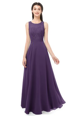 ColsBM Indigo Violet Bridesmaid Dresses Sleeveless Bateau Lace Simple Floor Length Half Backless