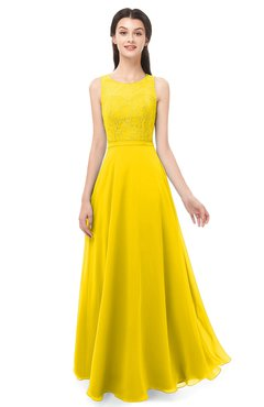 ColsBM Indigo Yellow Bridesmaid Dresses Sleeveless Bateau Lace Simple Floor Length Half Backless