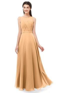 ColsBM Emery Apricot Bridesmaid Dresses Bateau A-line Floor Length Simple Zip up Sash