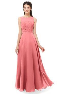 ColsBM Emery Coral Bridesmaid Dresses Bateau A-line Floor Length Simple Zip up Sash