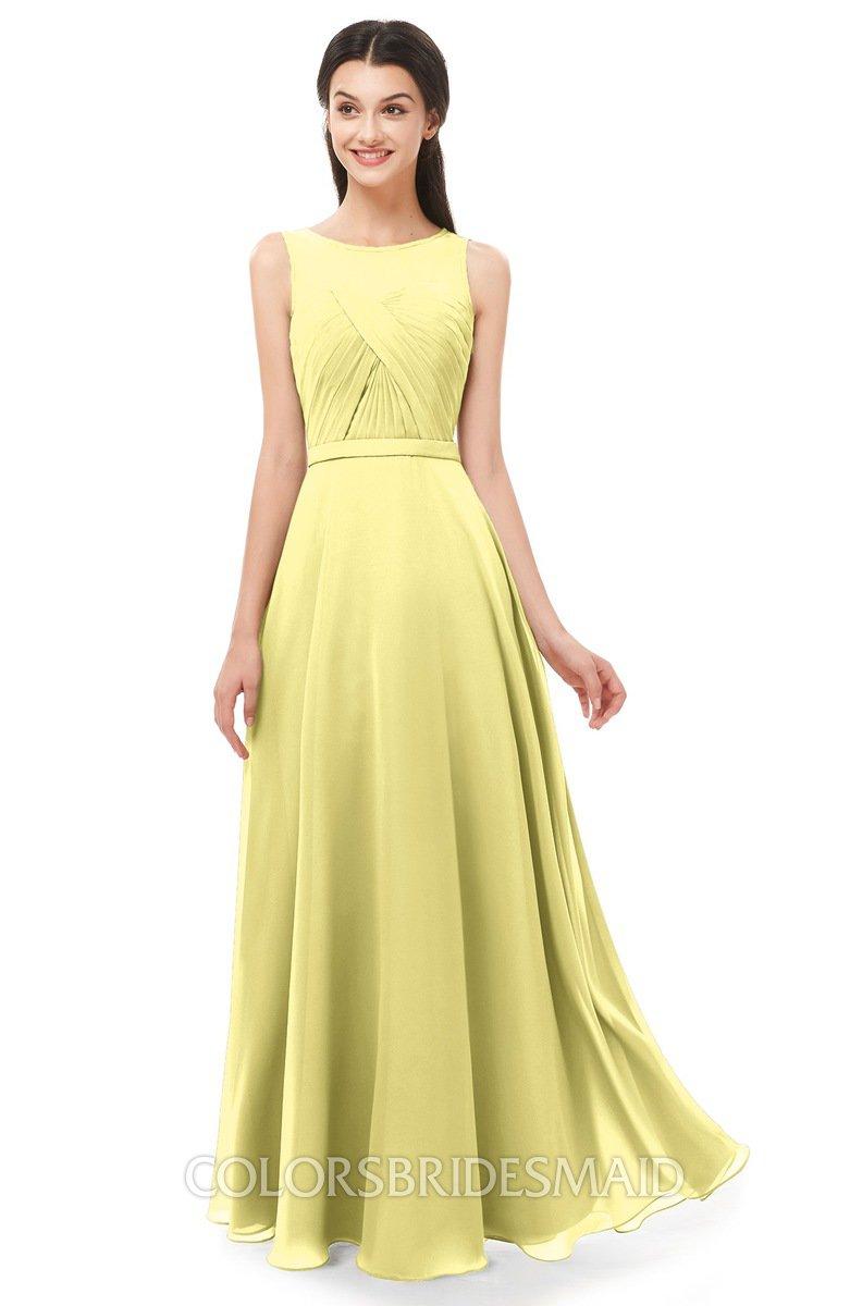 fdedc7c4e1c2 ColsBM Emery Daffodil Bridesmaid Dresses Bateau A-line Floor Length Simple  Zip up Sash