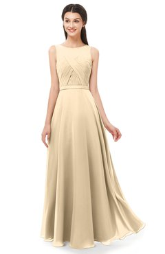 ColsBM Emery Marzipan Bridesmaid Dresses Bateau A-line Floor Length Simple Zip up Sash