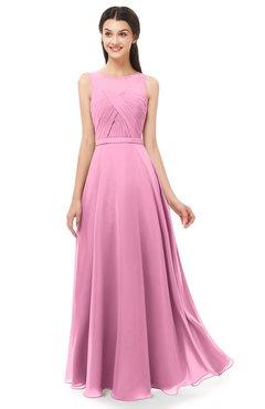 ColsBM Emery Pink Bridesmaid Dresses Bateau A-line Floor Length Simple Zip up Sash