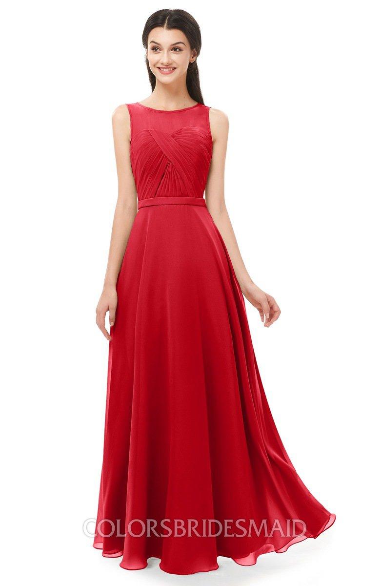 80a7dff284 ColsBM Emery Red Bridesmaid Dresses Bateau A-line Floor Length Simple Zip  up Sash