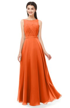 ColsBM Emery Tangerine Bridesmaid Dresses Bateau A-line Floor Length Simple Zip up Sash