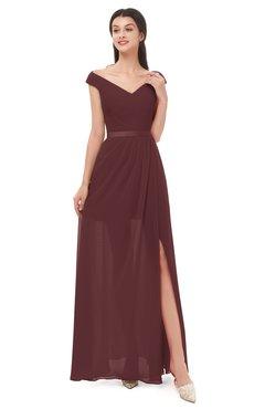 ColsBM Ariel Burgundy Bridesmaid Dresses A-line Short Sleeve Off The Shoulder Sash Sexy Floor Length