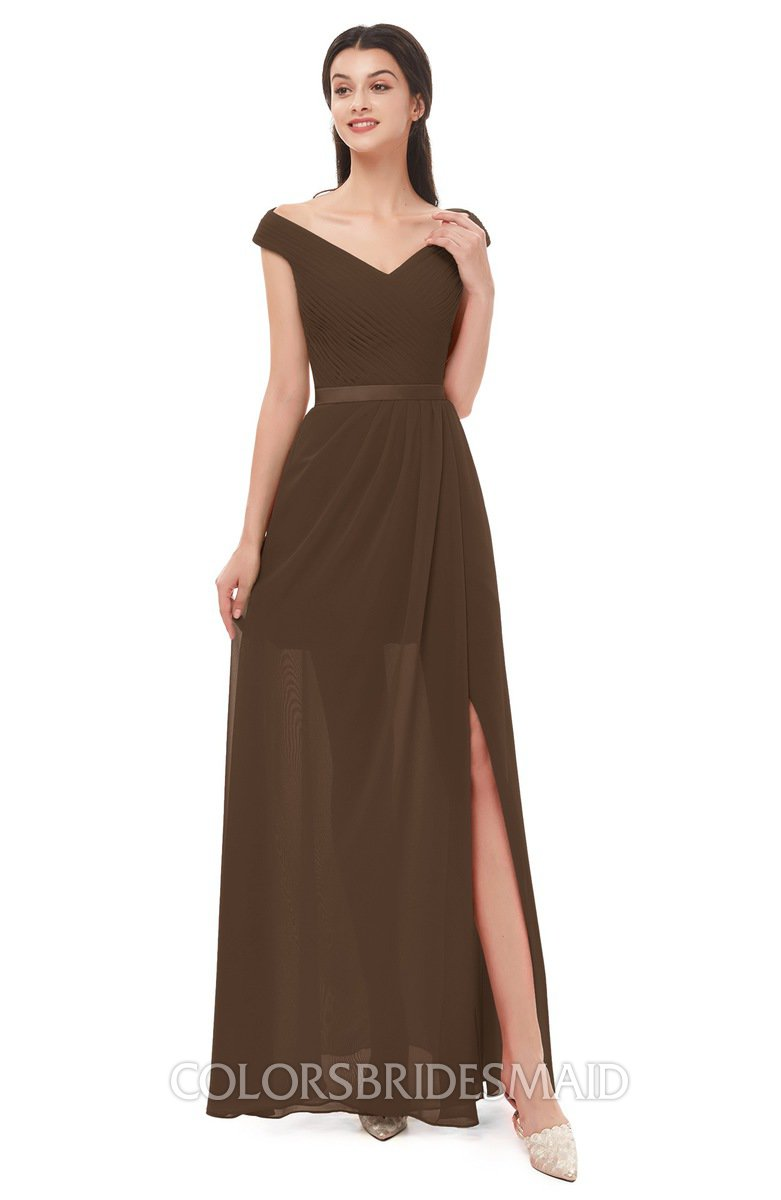 c98cfa7a4d7e ColsBM Ariel Chocolate Brown Bridesmaid Dresses A-line Short Sleeve Off The  Shoulder Sash Sexy