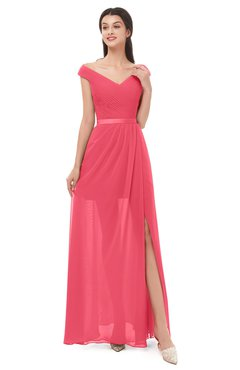 ColsBM Ariel Guava Bridesmaid Dresses A-line Short Sleeve Off The Shoulder Sash Sexy Floor Length