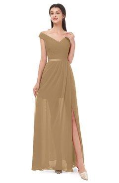 54a394d1aad0 ColsBM Ariel Indian Tan Bridesmaid Dresses A-line Short Sleeve Off The  Shoulder Sash Sexy