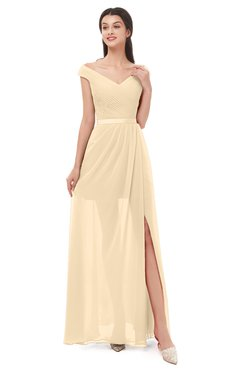 ColsBM Ariel Marzipan Bridesmaid Dresses A-line Short Sleeve Off The Shoulder Sash Sexy Floor Length