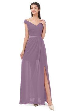 ColsBM Ariel Mauve Bridesmaid Dresses A-line Short Sleeve Off The Shoulder Sash Sexy Floor Length
