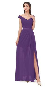ColsBM Ariel Pansy Bridesmaid Dresses A-line Short Sleeve Off The Shoulder Sash Sexy Floor Length
