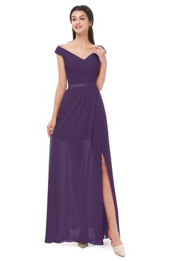 ColsBM Ariel Violet Bridesmaid Dresses A-line Short Sleeve Off The Shoulder Sash Sexy Floor Length