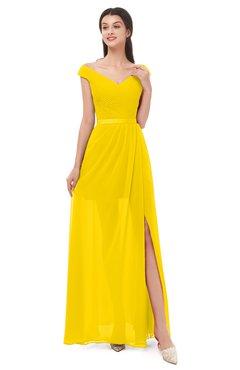 ColsBM Ariel Yellow Bridesmaid Dresses A-line Short Sleeve Off The Shoulder Sash Sexy Floor Length