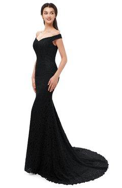 ColsBM Reese Black Bridesmaid Dresses Zip up Mermaid Sexy Off The Shoulder Lace Chapel Train