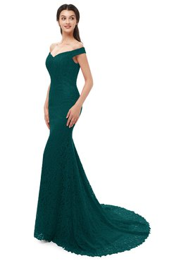 ColsBM Reese Blue Green Bridesmaid Dresses Zip up Mermaid Sexy Off The Shoulder Lace Chapel Train