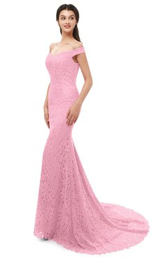 ColsBM Reese Carnation Pink Bridesmaid Dresses Zip up Mermaid Sexy Off The Shoulder Lace Chapel Train