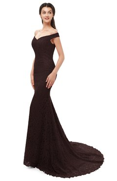 ColsBM Reese Chocolate Brown Bridesmaid Dresses Zip up Mermaid Sexy Off The Shoulder Lace Chapel Train