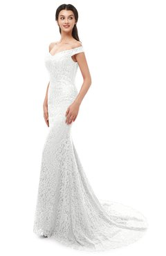 ColsBM Reese Cloud White Bridesmaid Dresses Zip up Mermaid Sexy Off The Shoulder Lace Chapel Train