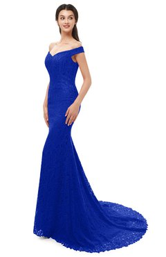 ColsBM Reese Electric Blue Bridesmaid Dresses Zip up Mermaid Sexy Off The Shoulder Lace Chapel Train