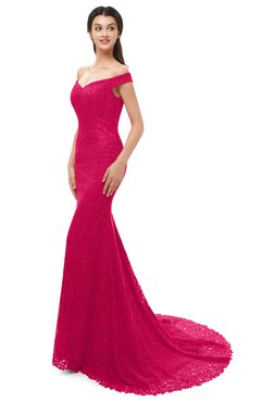 ColsBM Reese Fuschia Bridesmaid Dresses Zip up Mermaid Sexy Off The Shoulder Lace Chapel Train