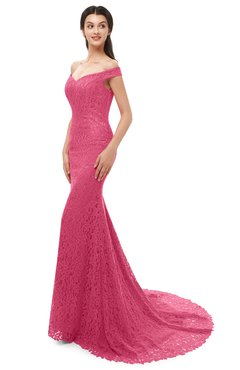 ColsBM Reese Honeysuckle Pink Bridesmaid Dresses Zip up Mermaid Sexy Off The Shoulder Lace Chapel Train