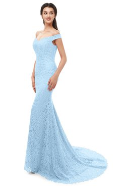 ColsBM Reese Ice Blue Bridesmaid Dresses Zip up Mermaid Sexy Off The Shoulder Lace Chapel Train