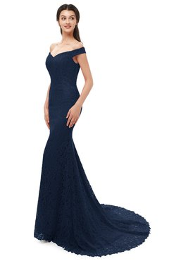 ColsBM Reese Navy Blue Bridesmaid Dresses Zip up Mermaid Sexy Off The Shoulder Lace Chapel Train