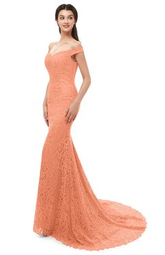 ColsBM Reese Peach Bridesmaid Dresses Zip up Mermaid Sexy Off The Shoulder Lace Chapel Train