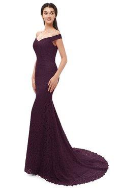 8aa6f4d4778b ColsBM Reese Plum Bridesmaid Dresses Zip up Mermaid Sexy Off The Shoulder  Lace Chapel Train