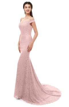 ColsBM Reese Silver Pink Bridesmaid Dresses Zip up Mermaid Sexy Off The Shoulder Lace Chapel Train