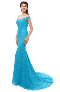ColsBM Reese Turquoise Bridesmaid Dresses Zip up Mermaid Sexy Off The Shoulder Lace Chapel Train