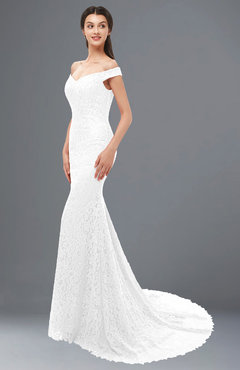 4deb46671ce1 ColsBM Reese White Bridesmaid Dresses Zip up Mermaid Sexy Off The Shoulder  Lace Chapel Train