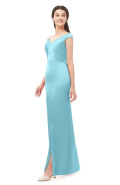 ColsBM Maryam Aqua Bridesmaid Dresses Mature Sheath Off The Shoulder Floor Length Half Backless Split-Front