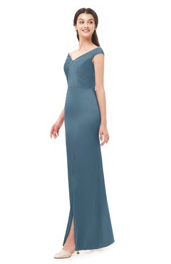 ColsBM Maryam Bluestone Bridesmaid Dresses Mature Sheath Off The Shoulder Floor Length Half Backless Split-Front