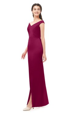 ColsBM Maryam Burgundy Bridesmaid Dresses Mature Sheath Off The Shoulder Floor Length Half Backless Split-Front