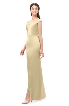 ColsBM Maryam Cornhusk Bridesmaid Dresses Mature Sheath Off The Shoulder Floor Length Half Backless Split-Front