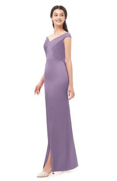 ColsBM Maryam Eggplant Bridesmaid Dresses Mature Sheath Off The Shoulder Floor Length Half Backless Split-Front