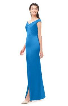 ColsBM Maryam French Blue Bridesmaid Dresses Mature Sheath Off The Shoulder Floor Length Half Backless Split-Front