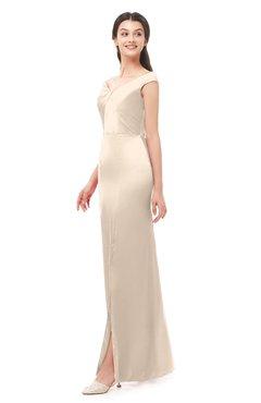 a7b937bff1 ColsBM Maryam Linen Bridesmaid Dresses Mature Sheath Off The Shoulder Floor  Length Half Backless Split-