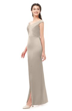 ColsBM Maryam Mushroom Bridesmaid Dresses Mature Sheath Off The Shoulder Floor Length Half Backless Split-Front