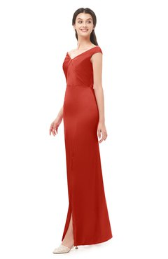 ColsBM Maryam Poinciana Bridesmaid Dresses Mature Sheath Off The Shoulder Floor Length Half Backless Split-Front
