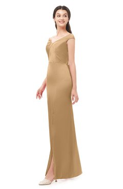 ColsBM Maryam Sand Bridesmaid Dresses Mature Sheath Off The Shoulder Floor Length Half Backless Split-Front
